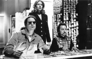 Penn Jillette, Lorraine Bracco, and Fisher Stevens in Hackers (1995)