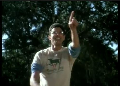 Goldblum points forward (glasses)